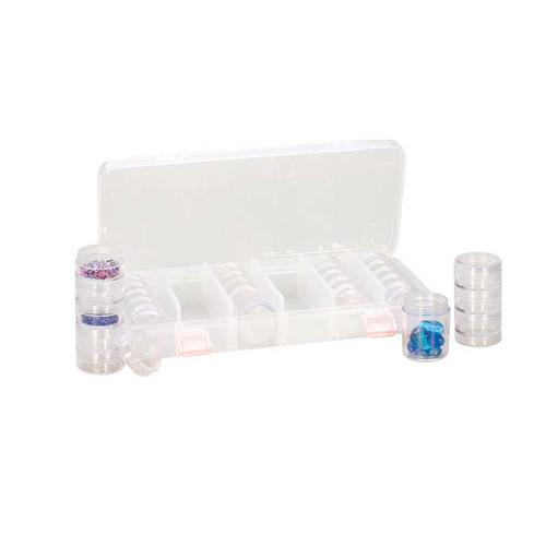 plastic storage box with 28 round stackable containers
