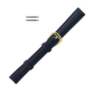 Watch Band 10MM Classic Calf  Navy Blue Leather