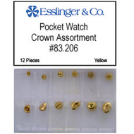 12 piece gold plated pocket watch crown assortment