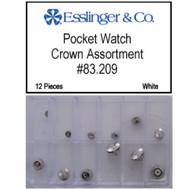 12-piece assortment of nickel-plated pocket watch crowns