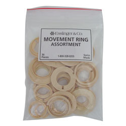 36-piece assortment of plastic movement rings