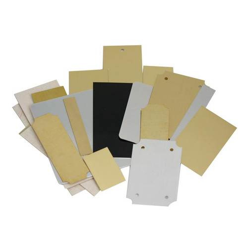 Assortment of aluminum and brass engraving plates