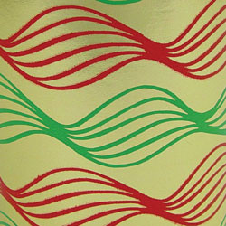 Foil Gift Wrap - Green Gold Red Swirl