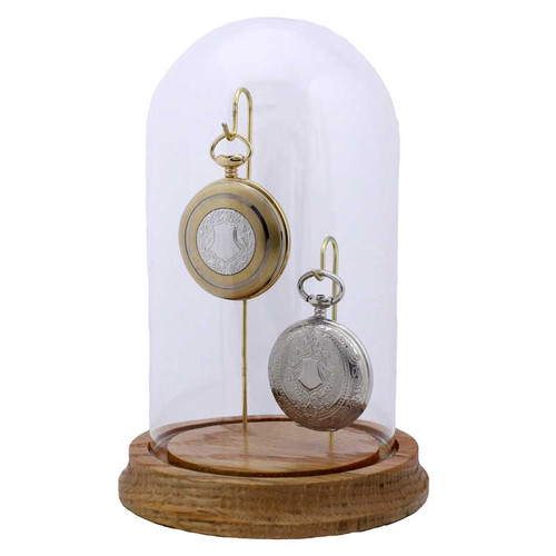 "Glass Pocket Watch Display Dome, Double Hook, 4"" x 7"""