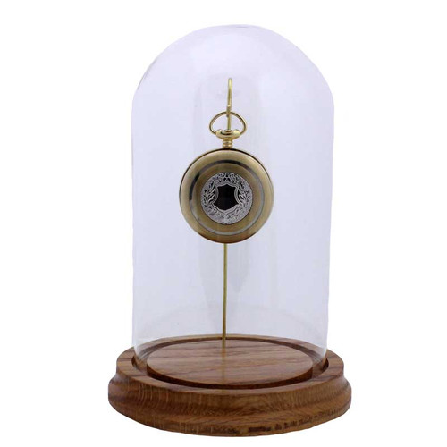 """Glass Pocket Watch Display Dome, Large Dome, Single Hook, 4"""" x 7"""""""