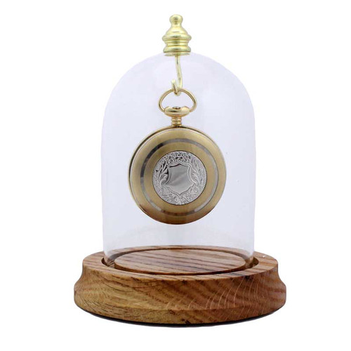 "Glass Pocket Watch, Top Hook Display Dome , 3"" x 4 1/4"""