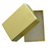 "Gold Foil Cotton Filled Jewelry Box - Dim. 1 3/4"" X 1 1/8"" X 5/8"""