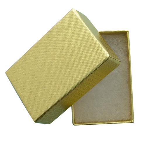 "Gold Foil Cotton Filled Jewelry Box - Dim. 1 3/4"" X 1 1/8"" X 5/8"""