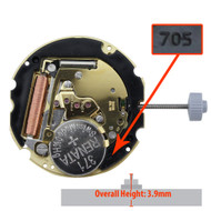 Harley Ronda 3 Hand Swiss Quartz Watch Movement HQ705G-6 Date at 6:00 Overall Height 3.9mm