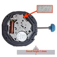 Miyota/Citizen LTD 6 Hand Quartz Watch Movement 6P77 Multifunction High Hand Pinions Overall Height 5.6mm