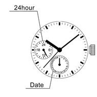 Hattori Japan 3 Hand Quartz Watch Movement VX3R Date at 6:00, Day at 9:00 Overall Height 5.1mm