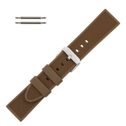 Silicone Watch Band Brown 24 MM Sport Rubber Watch Band