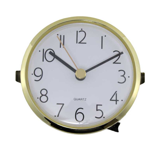 Clock Movement Bezel Insert 3 1/8 inch Arabic Numeral Gold Bezel