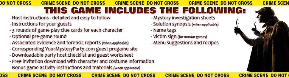 Game details of a downloadable murder mystery party game