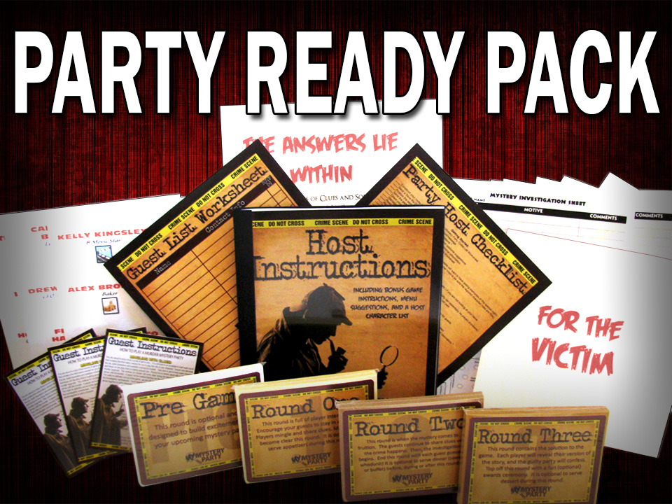Party Ready Pack, or otherwise known as a boxed set, of a murder mystery party