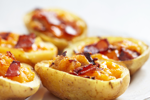 Potato skin appetizers for a murder mystery party