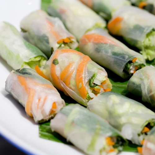Spring roll appetizers for a murder mystery party