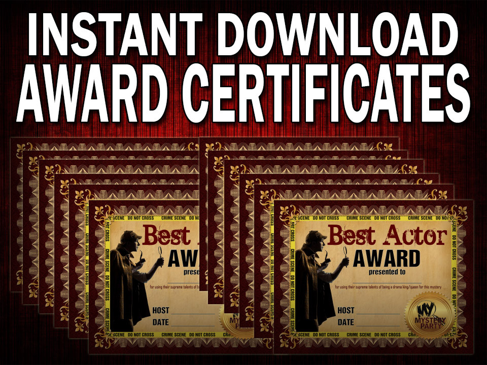 Twelve award certificates for a murder mystery party available via instant download