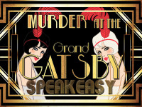 1920s murder mystery party game in the Grand Gatsby speakeasy setting.