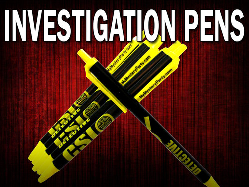 Murder mystery party investigation pens