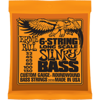 ERNIE BALL 2838 NICKEL WOUND 6 STRING ELECTRIC BASS STRINGS, LONG SCALE SLINKY (32 - 130)