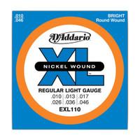 D'Addario, EXL110, 10-46, Nickel, Wound, Reg-Light, Electric, Guitar, Strings
