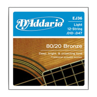 D'Addario, EJ36, 10-47, Phosphor, Bronze, Light, 12-String, Acoustic, Guitar, Strings