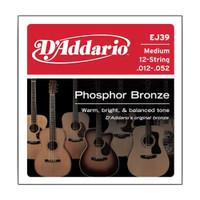D'Addario, EJ39, 12-52, Phosphor, Bronze, Medium, 12-String, Acoustic, Guitar, Strings