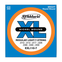 D'Addario, EXL110-7, 10-59, Nickel, Wound, Reg-Light, 7-String, Electric, Guitar, Strings