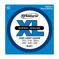 D'Addario, DAEJ21, 12-52, Nickel, Wound, Jazz, Light, Electric, Guitar, Strings