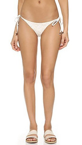 Blue Life Women's Embroidered Tie Side Bikini Bottoms, White Sands, Medium