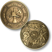 Maltese Cross - Fireman Theme - Bronze Antique Challenge Coin
