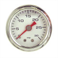 "Big End Performance 1.5"" Liquid Filled Pressure Gauge, 0-30 PSI White BEP15031"
