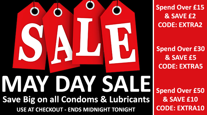 Get An Extra £2 Off Orders over £15 - Use Code: EXTRA2, Get An Extra £5 Off Orders over £30 - Use Code: EXTRA5, Get An Extra £10 Off Orders over £50 - Use Code: EXTRA10 - On All Condoms and Lubricants - Today Only - Click Here