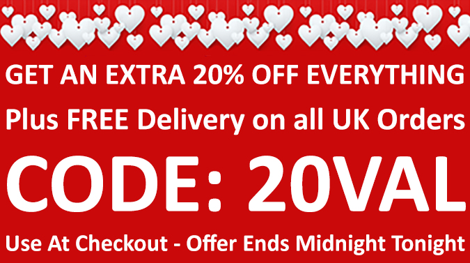 Valentines Deal of the Day - An Extra 20% Off Everything - Use Discount Code 20VAL at Checkout - Today Only - Click Here