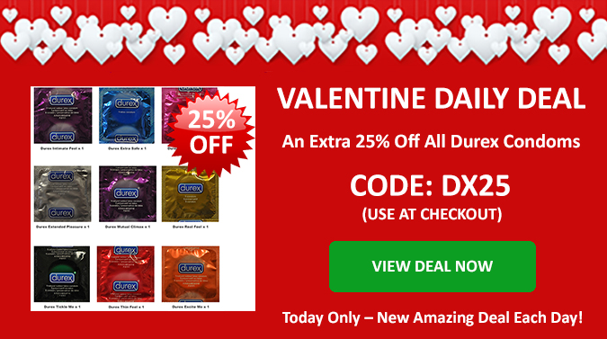 Valentines Deal of the Day - An Extra 25% Off All Durex Condoms - Use Discount Code DX25 at Checkout - Today Only - Click Here