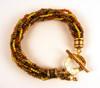 Loop dee Loo Kumihimo Bracelet sample - with textured end caps