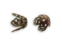 Filigree 12mm End Cap - Vintage Natural Brass