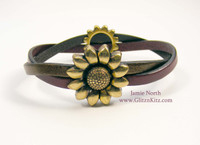 Magnetic Sunflower Bracelet kit - Antique Brass variation with Met Brown and Plum leather