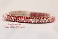 Blinged Leather Bangle - Red
