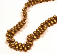 6X4mm Drops - Metallic Suede Gold