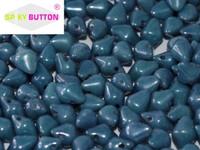 Spiky Button - Chalk White Baby Blue Luster