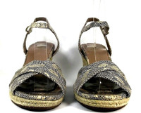 COLE HAAN Leather Snake Print Espadrille Wedge Sandal SIZE 7