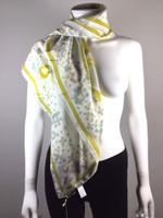EMILIO PUCCI NWT Yellow White Print Silk Wrap Scarf 33 X 33