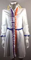 HOUSE OF HOLLAND NWT White Cotton Pom Pom Shirt Dress Size 6 / 34