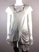 VANESSA BRUNO Light Gray Linen Short Sleeve Tunic Top Blouse Size 1