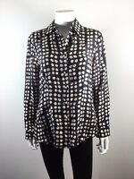 CABI Black Polka Dot Silk Button Down Blouse Size Medium #664