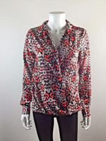 YOANA BARASCHI Coral Leopard Print Long Sleeve Blouse Size X Small