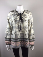 SANCTUARY Ivory Black Floral Print Bell Sleeve Peasant Blouse Size Small