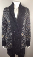 LINE Gray Multi Print Long Cardigan Sweater Size Small